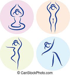 set, yoga, isolato, silhouette, linea, bianco