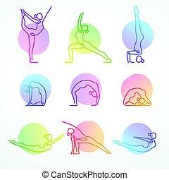 set, yoga, kleurrijke, vector, figuren, gevarieerd, lijn, maniertjes