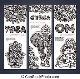 set, yoga, simboli, vettore, etnico, bandiere