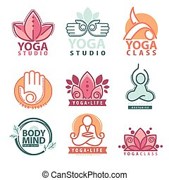 set, yoga, symbolen, grafiek, logo, meditatie