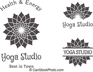 set, yoga, vettore, studio, sagoma, logotipo