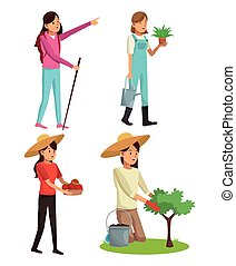 set young girls gardeners hiking with plant tree and walk stick