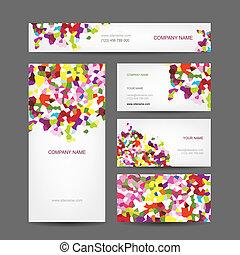 set, zakelijk, abstract, creatief, ontwerp, kaarten