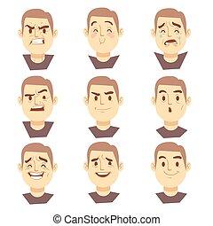 set, zakelijk, emoties, vector, karakters, gezichten, spotprent, man