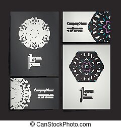 set, zakelijk, ornament., verzameling, symbols., ontwerp, kaarten, cirkel, mandala