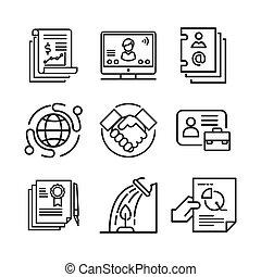 set, zakelijk, pictogram