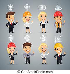 set, zakenlieden, iconen