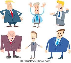 set, zakenlieden, karakters, spotprent