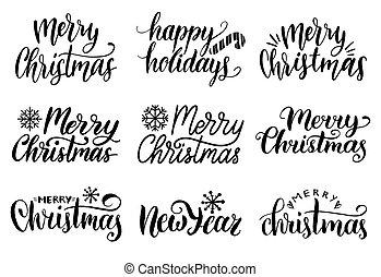set., zbiór, narodzenie, wektor, wesoły, rok, nowy, kaligrafia, lettering., boże narodzenie, handwritten