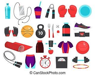 set., zbiór, wyposażenie, stosowność, sport, instrument
