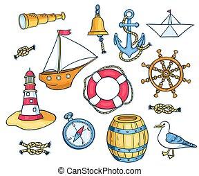 set, zee, voorwerpen