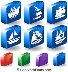 set, zeilboot, nautisch, schip, pictogram, 3d