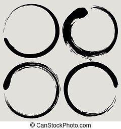set, zen, illustrazione, vettore, spazzola, cerchio, enso, pittura