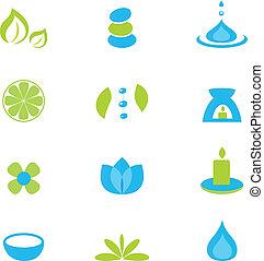set, zen, natuur, -, vrijstaand, verzameling, vector, white., ontspanning, pictogram