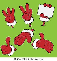 set, zes, kerstman, handen