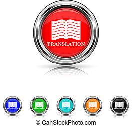 set, zes, -, kleur, boek, vertaling, pictogram