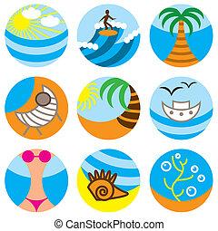 set, zet op het strand vakantie, iconen
