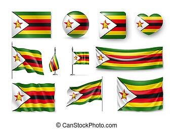 Set Zimbabwe flags, banners, banners, symbols, realistic ...