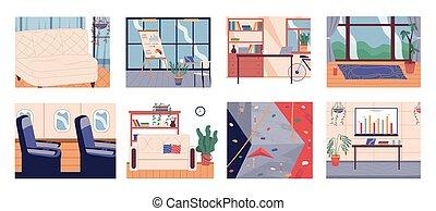set., zimmer, lebensunterhalt, kabine, räumlichkeiten, hochklettern, zimmer, innere, flugzeug, buero, möbel, turnhalle