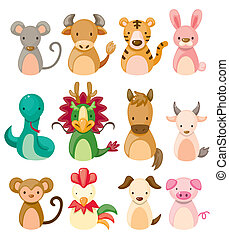 set, zodiaco, icona, 12, cinese, animale