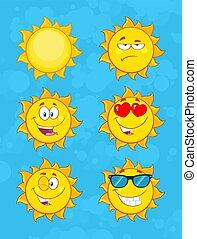 set, zon, karakter, verzameling, gezicht, gele, emoji, spotprent, 1.