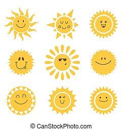 set, zonnen, icons., vector, verzameling, zon