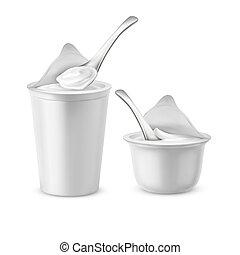 set, zuur, potten, vector, yoghurt, witte , of, room