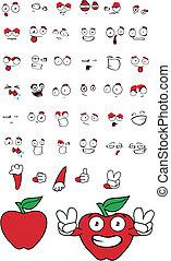set01, maçã, caricatura