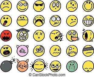 set02, couleur, smiley, jaune, main, vecteur, dessins, icône