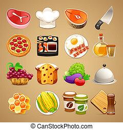 set1.1, alimento, cocina, accesorios, iconos