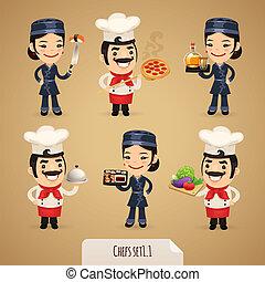 set1.1, chef, cartone animato, caratteri