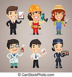 set1.1, profesiones, caricatura, caracteres