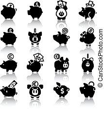set16, reflektion, bank, piggy
