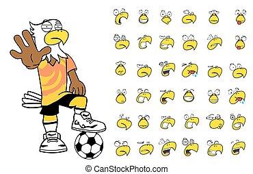 set4, aigle, football, dessin animé, gosse