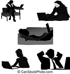 Set_freelancer - silhouette image of a free worker from home