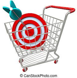 seta, bulls-eye, shopping, alvo, carreta