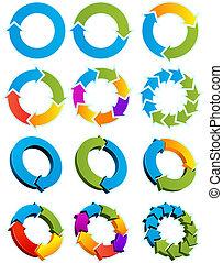 seta, círculos