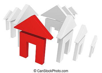 seta, casa, símbolo, vermelho, eco