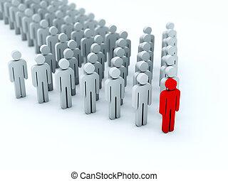 seta, de, 3d, pessoas, isolado, branco