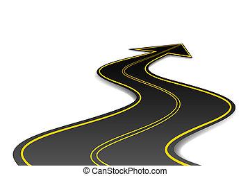 seta, forma, estrada