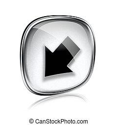 seta, fundo, cinzento, isolado, vidro, branca, ícone