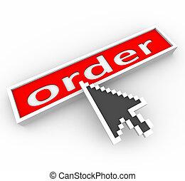seta, ligado, vermelho, ordem, botão