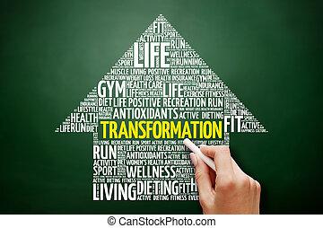 seta, palavra, transformação, nuvem