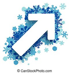 seta, snowflakes, crescimento, azul