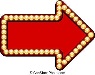 seta vermelha, com, lâmpadas incandescentes