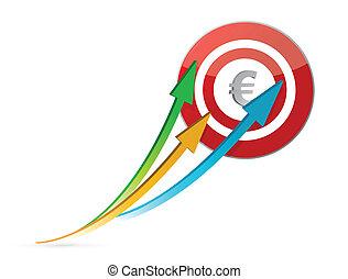 setas, alvo, apontar, euro