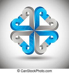 setas, isolado, fundo, vetorial, branca, ícone,  3D