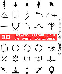 setas, isolado, vetorial, fundo, sinais, branca
