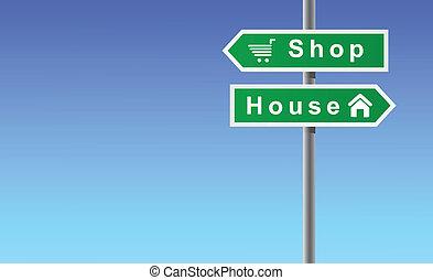 setas, loja, casa, ligado, céu, fundo