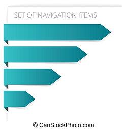 setas, modernos, -, papel, itens, navegação